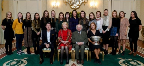 President Michael D. Higgins announces his support of 20×20 at reception of All Ireland winning Cork Camaogie Squad